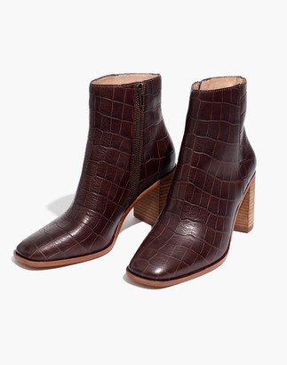 Madewell The Greer Boot in Croc Embossed Leather