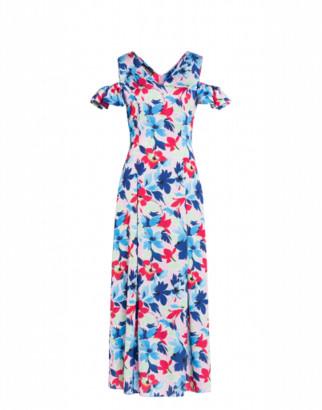 Boutique Moschino Tropical Flowers Marocaine Satin Long Dress