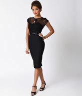 Stop Staring 1940s Style Black Swiss Dot Mesh Twilight Wiggle Dress