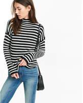 Express striped mock neck shirttail hem sweater