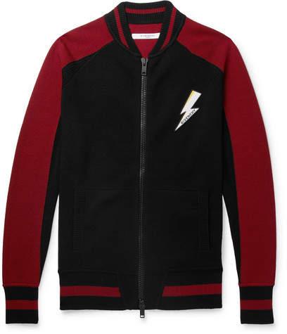 Givenchy Slim-Fit Appliquéd Intarsia Wool Bomber Jacket