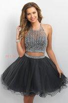Blush Lingerie Jewel Embellished Illusion Halter A-line Dress 11175