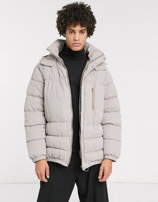 ASOS boxy puffer jacket in gray with concealed hood