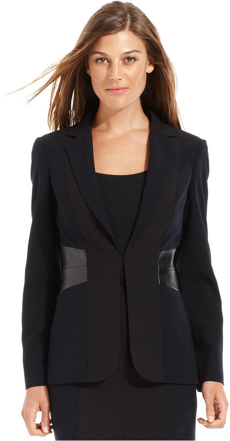 Calvin Klein Jacket, Faux-Leather Colorblock Blazer