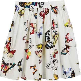 Dolce & Gabbana Butterfly-Print Poplin Skirt, Size 4-6