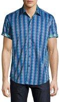 Robert Graham Geometric-Print Short-Sleeve Sport Shirt, Blue