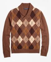 Brooks Brothers Heritage Argyle Shawl Collar Sweater