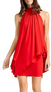 Halston Convertible Mock Neck Mini Dress