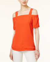 Bar III Fringe-Trim Cold-Shoulder Top, Created for Macy's