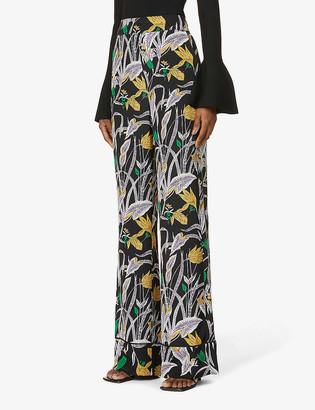 Diane von Furstenberg Federica floral-print silk-crepe trousers