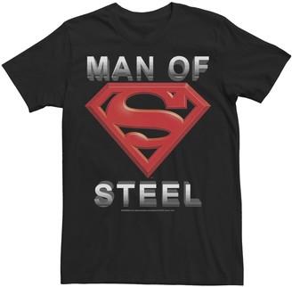 Dc Comics Men's Superman Man Of Steel 3D Logo Tee