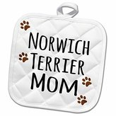 3dRose InspirationzStore Pet designs - Norwich Terrier Dog Mom - Doggie by breed - muddy brown paw prints - doggy lover pet owner mama love - 8x8 Potholder (phl_154164_1)