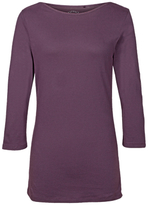 Fat Face Natasha Three Quarter Length Sleeve T-Shirt, Aubergine