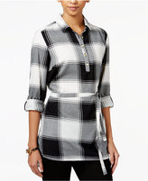 Tommy Hilfiger Plaid Belted Tunic, Only at Macy's