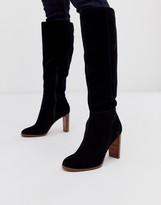 Asos DESIGN Clover premium suede knee high boots in black