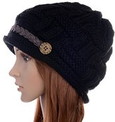 ANDI ROSETM Slouch Beanies Button Hats Knitted Crochet Baggy Skullies Beret Cap Hat for Women Winter Ski Party (1010 Black)