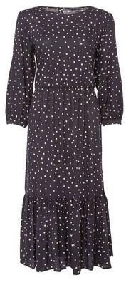 Dorothy Perkins Womens Black Tiered Long Sleeve Smock Midi Dress, Black