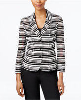 Nine West Three-Button Striped Seersucker Jacket