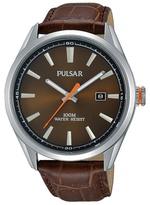 Pulsar Brown Analogue Strap Watch Ps9379x1