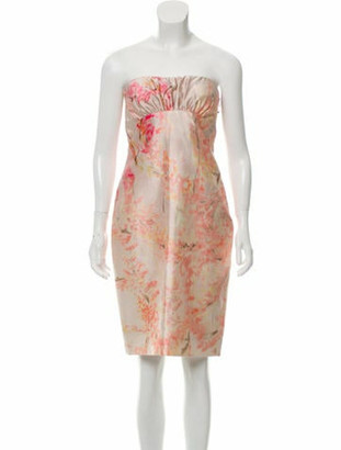 Valentino Silk Floral Print Mini Dress Champagne