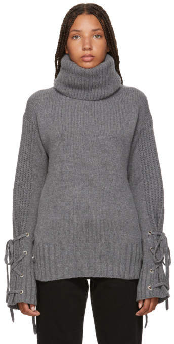 McQ Grey Lace-Up Turtleneck