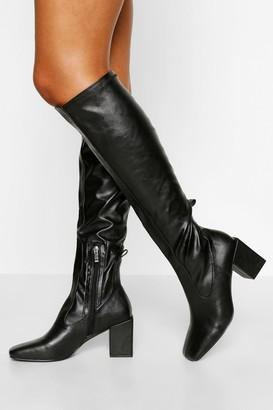 boohoo Stretch Block Heel Knee Boot