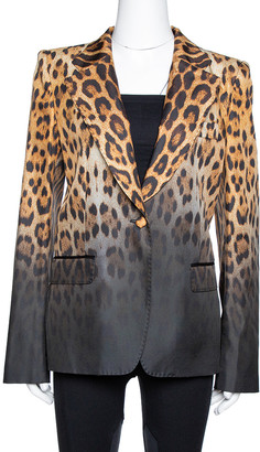 Roberto Cavalli Brown Ombre Animal Print Silk Tailored Blazer L
