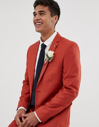 Farah Smart Farah Henderson skinny fit suit jacket in red