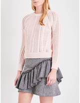 Maje Openwork chunky-knit cotton-blend jumper