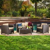 Christopher Knight Home Puerta 4-piece Brown Outdoor Wicker Sofa Set