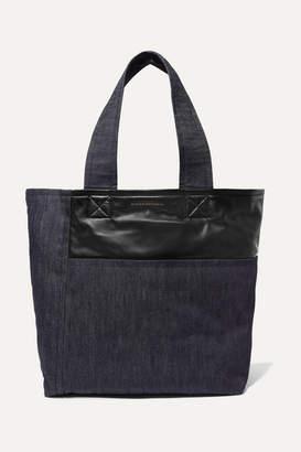 Victoria Beckham Sunday Leather-trimmed Denim Tote - Dark denim