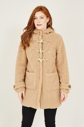 Yumi Camel Teddy Bear Duffle Coat
