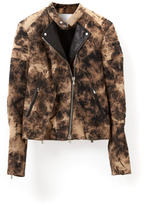 3.1 Phillip Lim Splattered Denim Jacket With Cut Out Hem Detail And Leather Inset