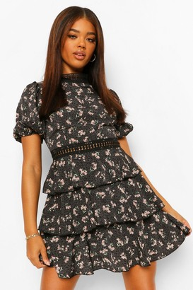 boohoo Floral High Neck Puff Sleeve Tiered Skater Dress