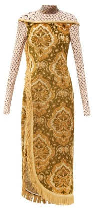 Marine Serre High-neck Floral-jacquard Cotton And Silk Dress - Yellow