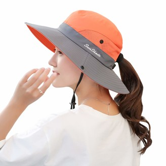 Muryobao Women's Sun Hat Outdoor UV Protection Foldable Mesh Bucket Hat Wide Brim Summer Beach Fishing Cap Orange