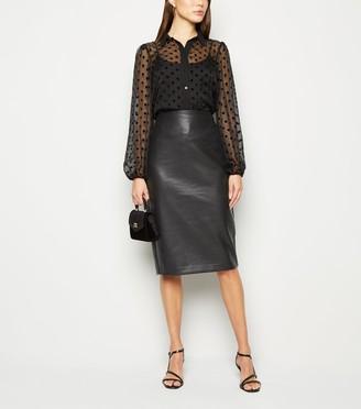 New Look Coated Leather-Look Midi Pencil Skirt