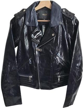 Maje Navy Leather Jackets