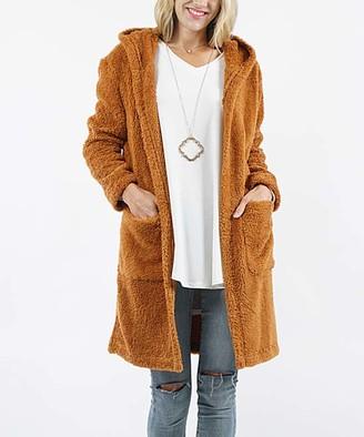 42pops 42POPS Women's Overcoats Camel - Camel Faux Fur Pocket Hooded Open Coat - Women