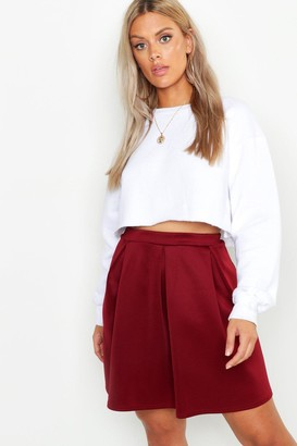 boohoo Plus Scuba Box Pleat Mini Skater Skirt