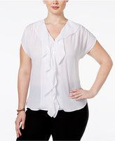 INC International Concepts Ruffled Short-Sleeve Blouse, Only at Macy's