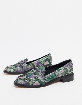 ASOS DESIGN Mantra loafer flat shoes in jacquard