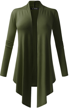 All Yours Women's Cardigans Olive - Olive Drape-Front Open Cardigan - Women & Plus