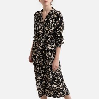 Jacqueline De Yong Printed Shirt Dress with Tie-Waist