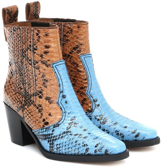 Ganni Snake-effect leather ankle boots