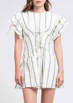 J.o.a. Striped Ruffle Sleeve Corset Mini Dress