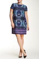 London Times Short Sleeve Prism Shift Dress (Plus Size)