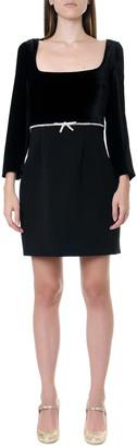 Miu Miu Black Crepe & Velvet Short Dress