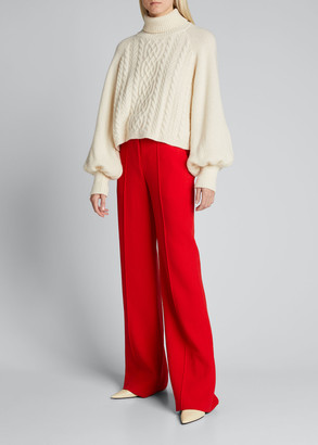 Adam Lippes Turtleneck Cashmere-Blend Cable-Knit Sweater