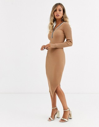 Morgan knitted jumper dress with contrast stripe in camel-Tan
